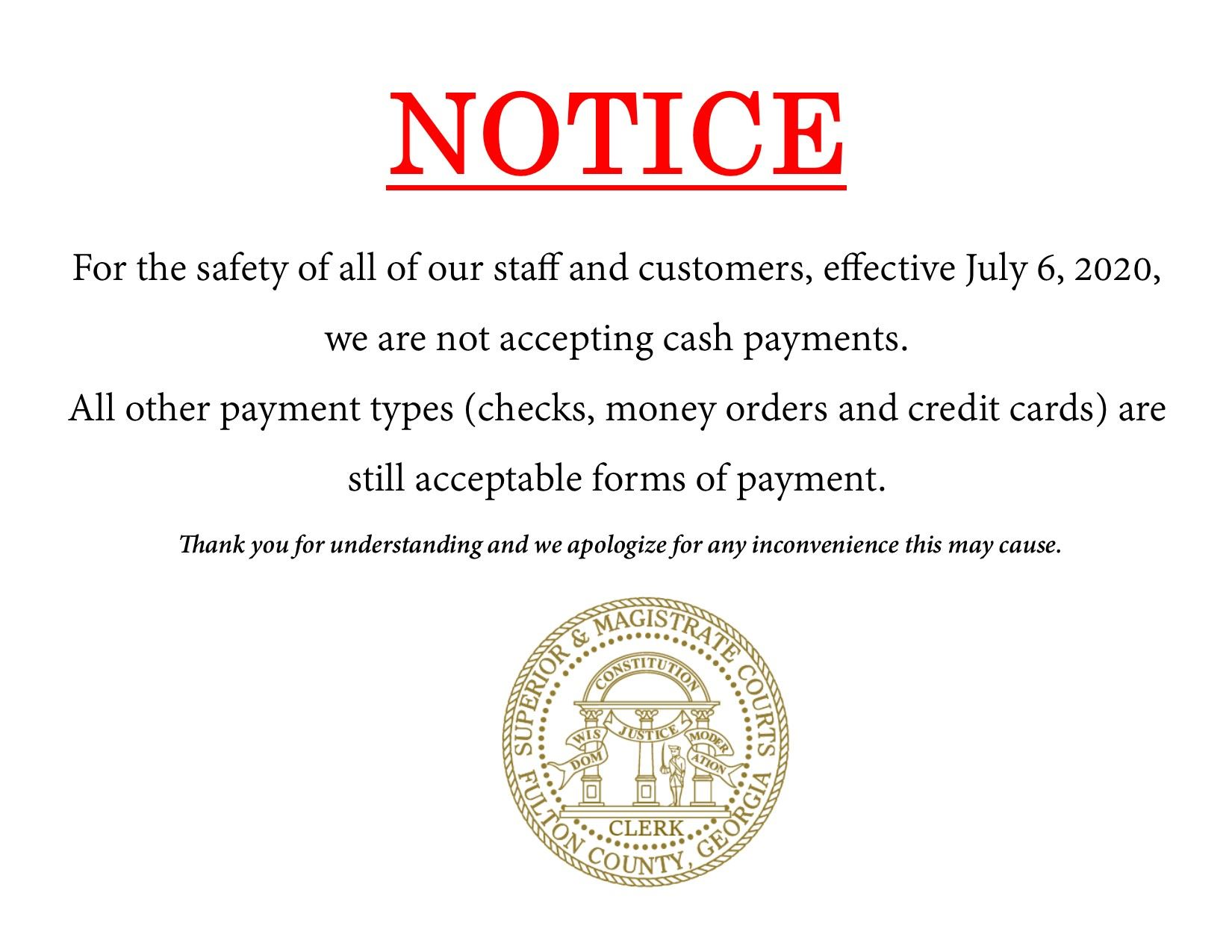 Cashless Payments Notice for Web
