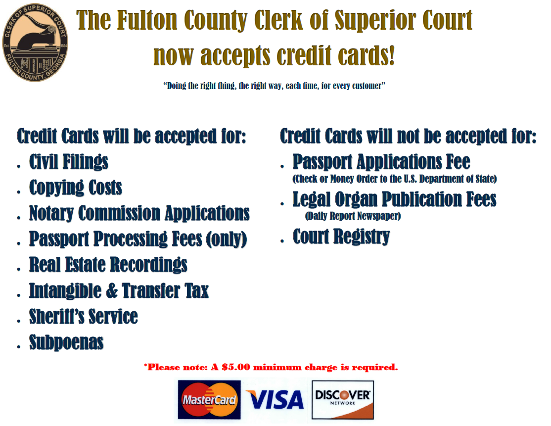 Fulton County Clerk of Superior Court now accepts credit cards