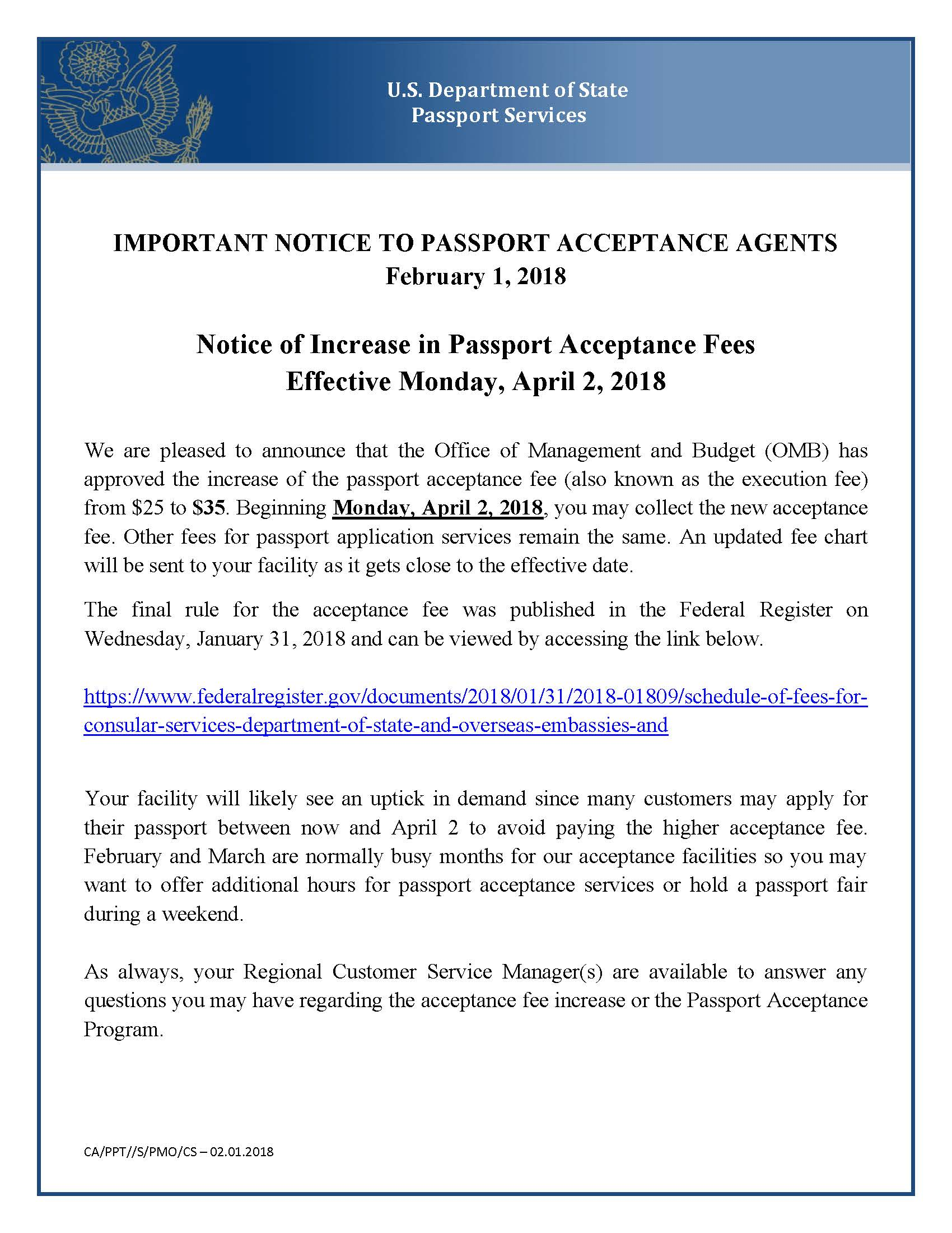 2018 Notice - Passport Acceptance Fee Increase